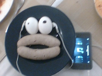 Sausage and Egg monster likes his iPod.